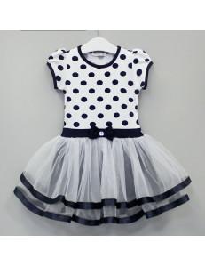 Платье нарядное темно-синего цвета для девочки в горошек