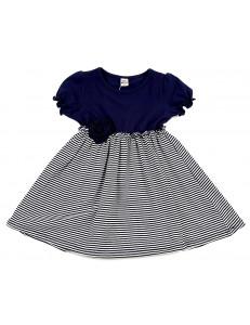 Платье летнее синее в мелкую полоску с розочкой