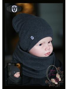 """Комплект графитового цвета для мальчика (удлиненная шапка и снуд) """"WEAR"""""""