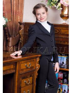 """Костюм для девочек черного цвета (жакет и брюки) """"Сударушка"""""""